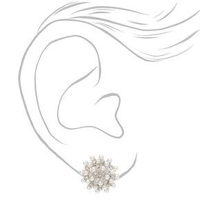 Clous d'oreilles à clip grappe de perles d'imitation et strass couleur argentée,