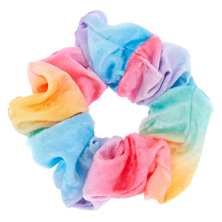 Medium Pastel Rainbow Velvet Hair Scrunchie,