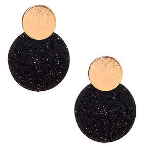 """Gold 1.5"""" Glitter Disc Drop Earrings - Black,"""