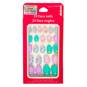 Pastel Hearts Stiletto Press On Faux Nail Set - 24 Pack,