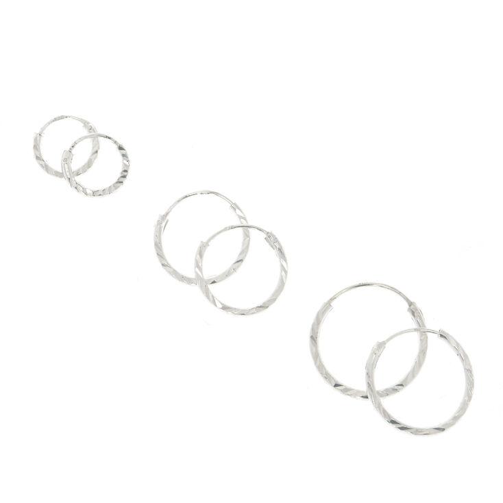 Sterling Silver Graduated Laser Cut Hoop Earrings - 3 Pack,