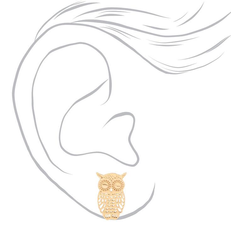 Clous d'oreilles hibou en filigrane couleur dorée,
