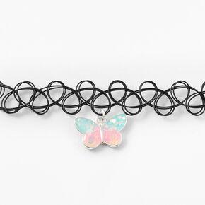 Ras-de-cou effet tatouage papillon pastel phosphorescent,