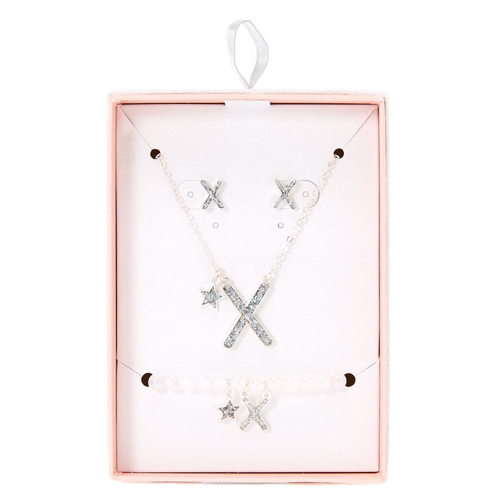 Silver Iridescent Glitter Initial Letter X Jewellery Set,