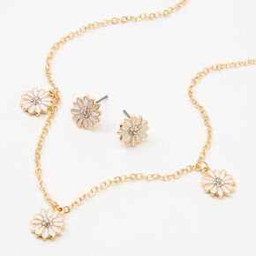 White Daisies Jewelry Set - Gold, 2 Pack,