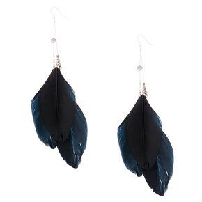 """6"""" Oversized Feather Drop Earrings - Black,"""