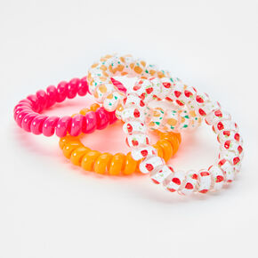 Neon Fruit Spiral Hair Ties - 4 Pack,