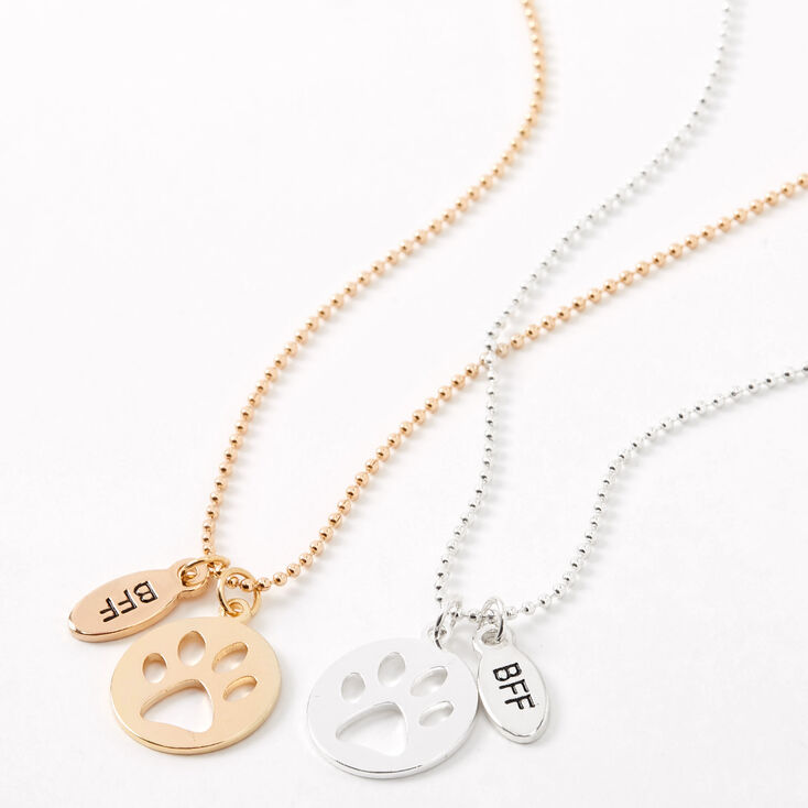 Mixed Metal Best Friends Paw Cut Out Pendant Necklaces - 2 Pack,