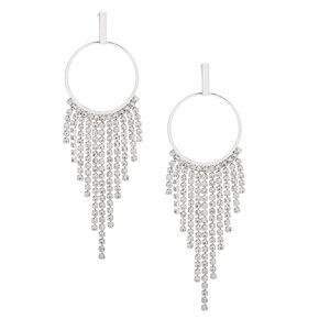 """Silver Rhinestone 2.5"""" Fringe Drop Earrings,"""