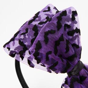 Bats Large Purple Bow Headband - Black,