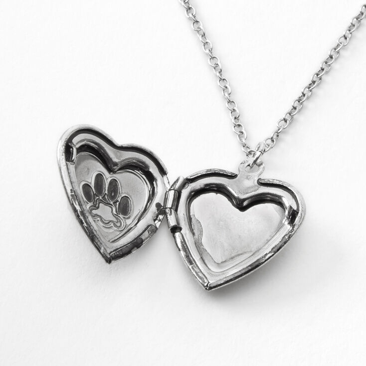Silver Paw Print Heart Locket Pendant Necklace,