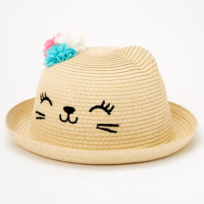 Claire's Club Cat Straw Hat - Brown,