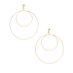Gold Double Hoop Clip on Earrings,