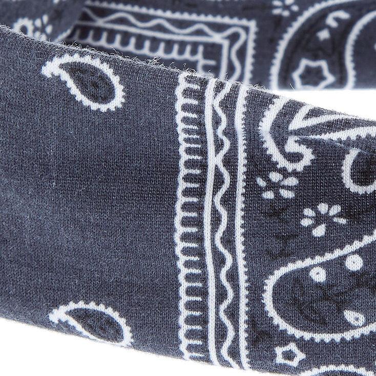 Bandeau en jersey noué gris anthracite à imprimé cachemire,