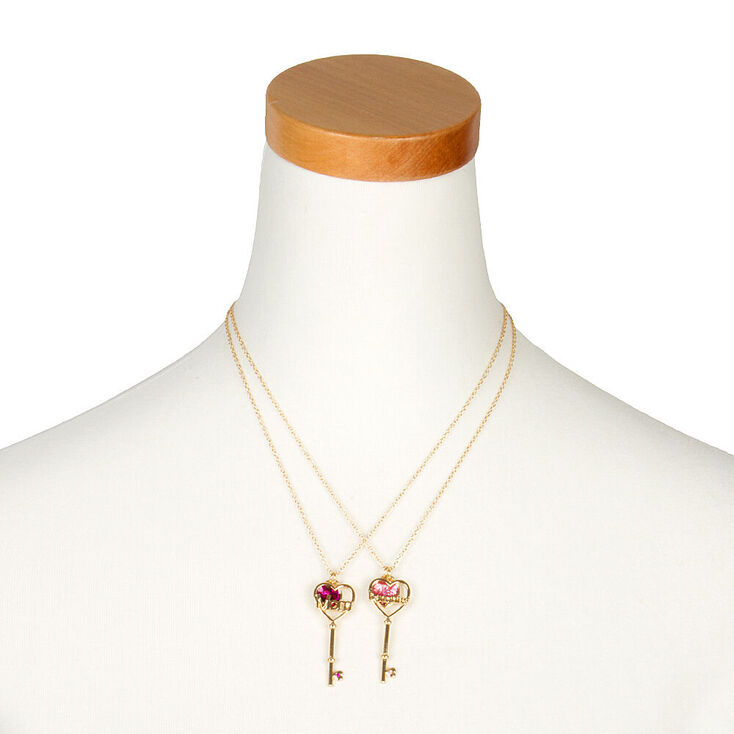 Mom & Daughter Heart & Key Pendant Necklaces - Pink, 2 Pack,