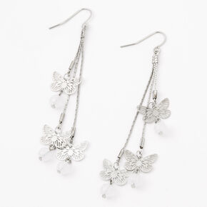 """Silver 3"""" Butterfly Beaded Drop Earrings,"""