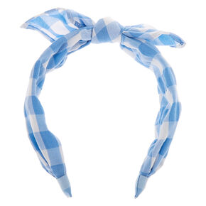 Gingham Knotted Bow Headband - Blue,