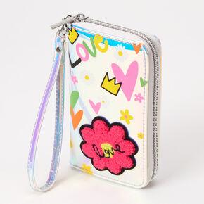 Rainbow Floral Heart Wristlet - White,