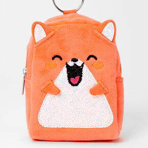 Furry Orange Hamster Mini Backpack Keychain,