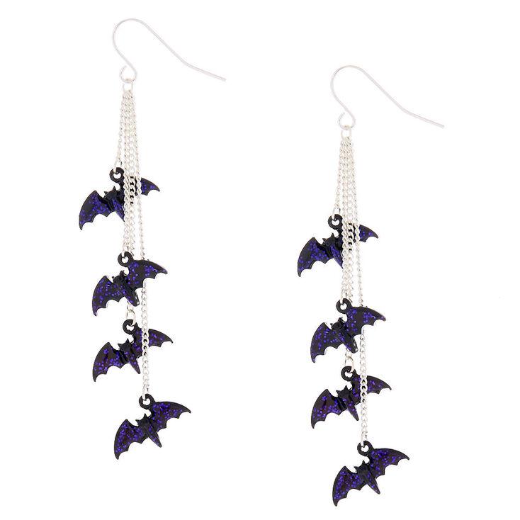 Silver 2 5 Bat Drop Earrings