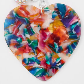 Colorful Mosaic Resin Heart Keychain,