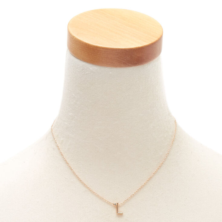 Gold Stone Initial Pendant Necklace - L,