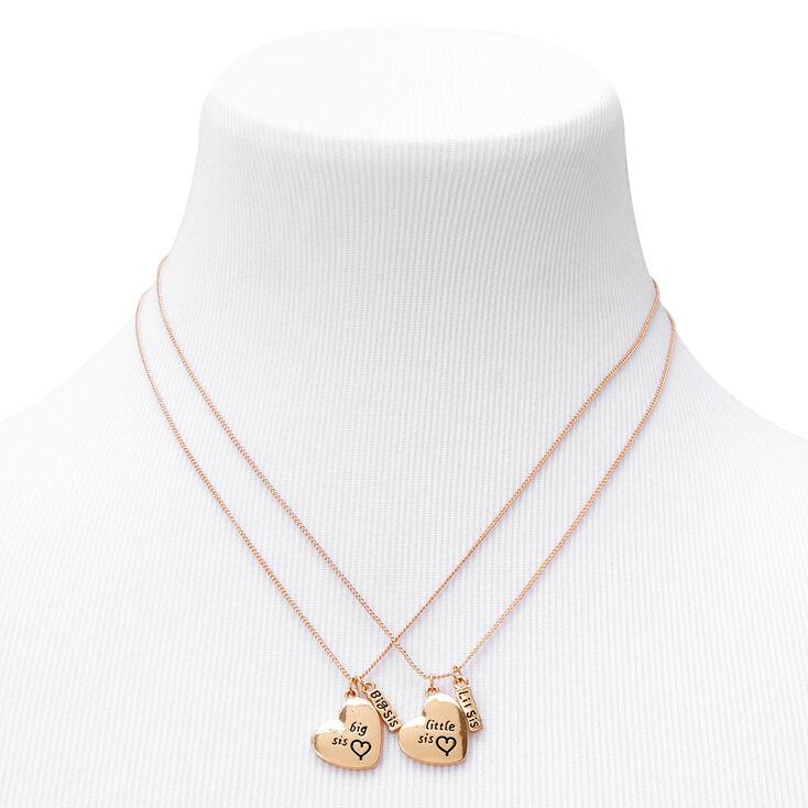 Best Friends Big & Little Sis Heart Pendant Necklaces - 2 Pack,