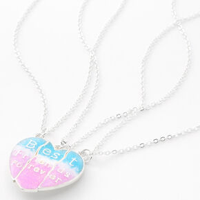 Best Friends Blue & Pink Split Heart Pendant Necklaces - 3 Pack,
