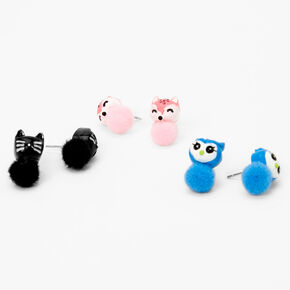 Animals Pom Pom Stud Earrings - 3 Pack,