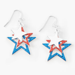 "Fourth of July Graduated Stars 1.5"" Drop Earrings,"