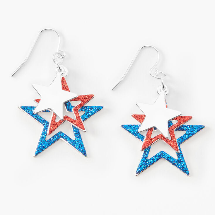"""Fourth of July Graduated Stars 1.5"""" Drop Earrings,"""
