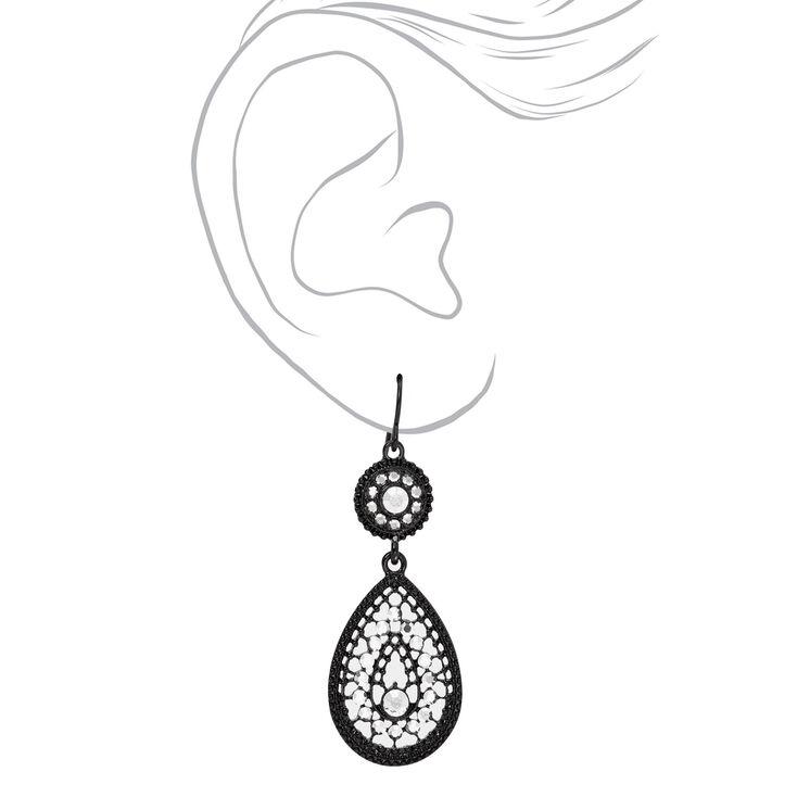 """Black 2"""" Embellished Teardrop Drop Earrings,"""