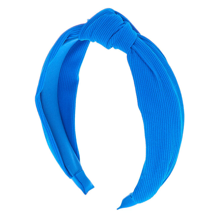 Ribbed Knotted Headband - Royal Blue,