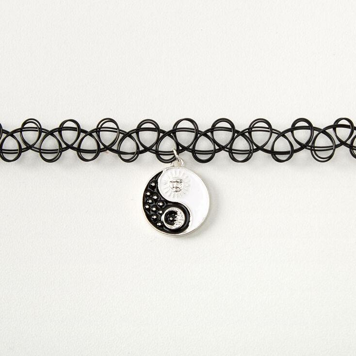 Sun & Moon Yin Yang Tattoo Choker Necklace - Black,