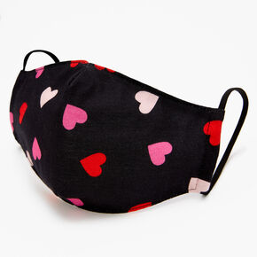 Cotton Scatter Print Hearts Black Face Mask - Adult,