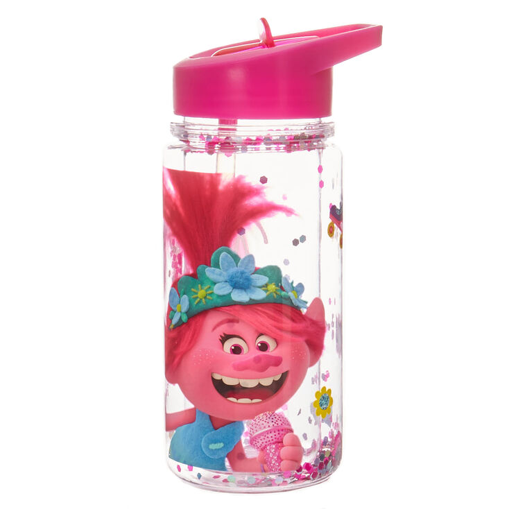 Trolls World Tour Poppy Glitter Water Bottle – Pink,