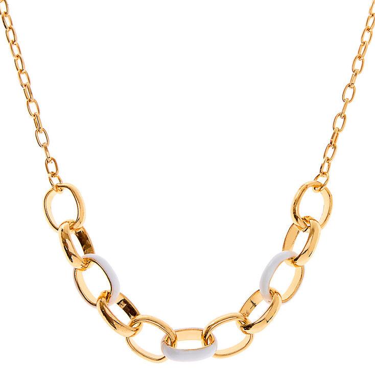 Collier de caractère maillon de chaîne en émail couleur dorée - Blanc,