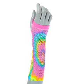 Pastel Tie Dye Fishnet Arm Warmers,