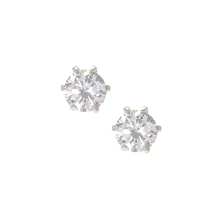 Preferred Sterling Silver Cubic Zirconia 6mm Stud Earrings   Claire's IS59