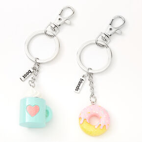 Donut Coffee Best Friends Keychain - 2 Pack,