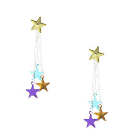 Colourful Stars Drop Ear Jacket Earrings,