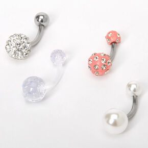 Silver 14G Fireball Belly Rings - 4 Pack,