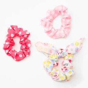 Medium Spring Patterns Hair Scrunchies - 3 Pack,