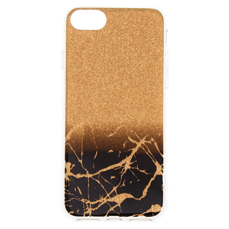 uk availability ad8d0 17926 Black & Gold Cracked Marble Phone Case - Fits iPhone 6/7/8 Plus
