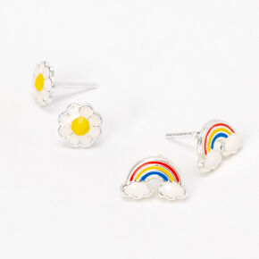Sterling Silver Rainbow Daisy Stud Earrings - 2 Pack,