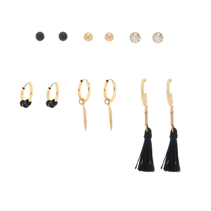 Gold Tassel Leaf Mixed Earrings - Black, 6 Pack,