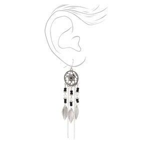 """Silver 3"""" Flower Beaded Dreamcatcher Drop Earrings - Black,"""