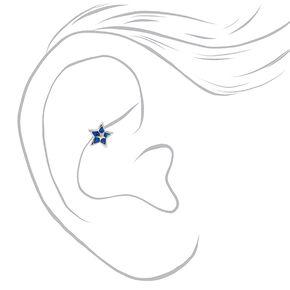 Boucles d'oreilles rook avec perles d'imitation et strass 1,2mm couleur argentée - Bleu, lot de 3,