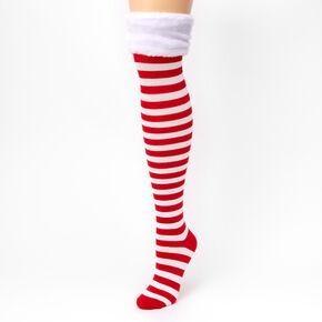Chaussettes montantes à rayures rouges et blanches,
