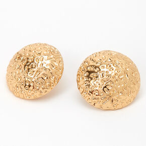 Gold Round Textured Button Stud Earrings,